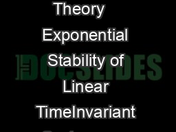 Nonlinear Dynamics and Systems Theory    Exponential Stability of Linear TimeInvariant Systems on Time Scales T
