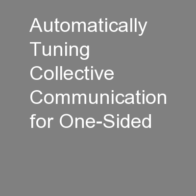Automatically Tuning Collective Communication for One-Sided