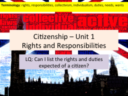 Citizenship � Unit 1