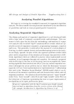 MSc Design and Analysis of Parallel Algorithms Supplementary Note  Analysing Parallel Algorithms We begin by reviewing the standard framework for sequential algorithm analysis