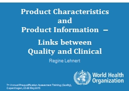 Product Characteristics PowerPoint PPT Presentation