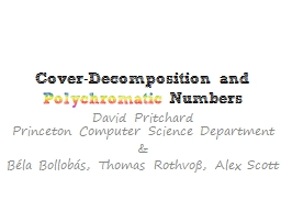 Cover-Decomposition and PowerPoint PPT Presentation