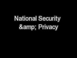 National Security & Privacy