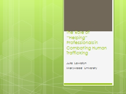 """The Role of """"Helping"""" Professionals in Combating Human"""