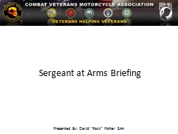 Sergeant at Arms Briefing