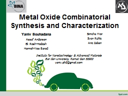 Metal Oxide Combinatorial Synthesis and PowerPoint PPT Presentation