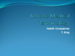 Intro to Medical Terminology PowerPoint PPT Presentation