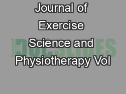 Journal of Exercise Science and Physiotherapy Vol