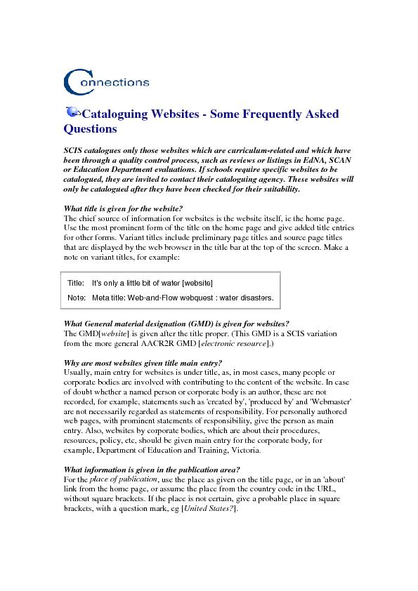 Cataloguing Websites - Some Frequently Asked Questions