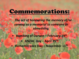 Commemorations: