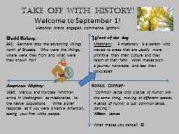 Take off with history! PowerPoint PPT Presentation