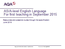AS/A-level English Language PowerPoint PPT Presentation