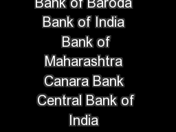 PUBLIC SECT OR BANKS  Allahabad Bank  Andhra Bank  Bank of Baroda  Bank of India  Bank of Maharashtra  Canara Bank  Central Bank of India  Corporation Bank  Dena Bank  IDBI Bank  Indian Bank  Indian