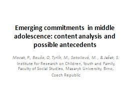 Emerging commitments in middle adolescence: content analysi