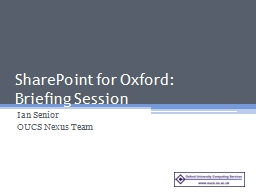 SharePoint for Oxford: