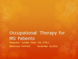Occupational Therapy for MS Patients