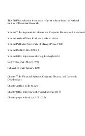 This PDF is a selection from an outofprint volume from the National Bureau of Economic Research Volume Title Asymmetric Information Corporate Finance and Investment Volume AuthorEditor R