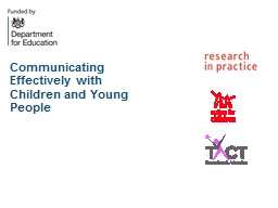 Communicating Effectively with Children and Young People