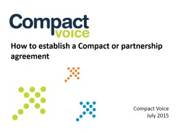 How to establish a Compact or partnership agreement