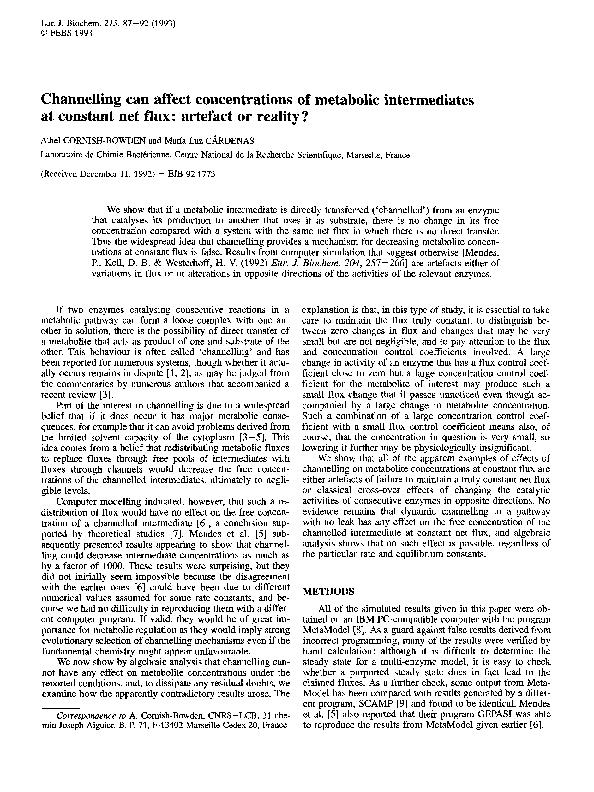 87-92 (1993) Channelling can metabolic intermediates at constant net a