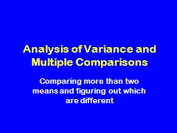 Analysis of Variance and Multiple Comparisons PowerPoint PPT Presentation