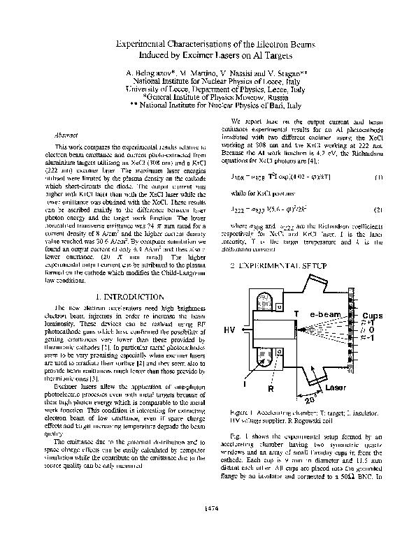 Experimental Characterisations of the Electron Beams Induced by Excime