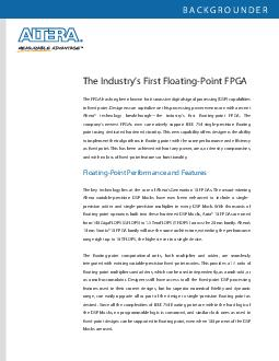 The Industrys First FloatingPoint FPGA BACKGROUNDER The FPGA has long been known for its massive digital signal processing DSP capabilities in xed point