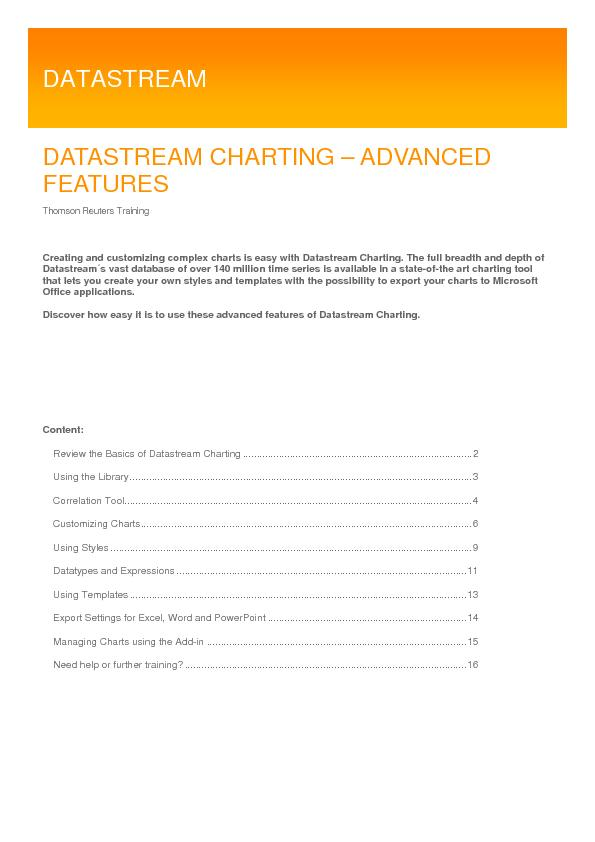 DATASTREAM CHARTING – ADVANCED FEATURES Thomson Reuters Training