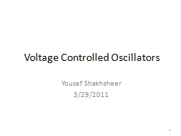 Voltage Controlled Oscillators PowerPoint PPT Presentation