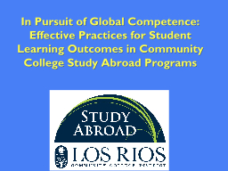 In Pursuit of Global Competence:
