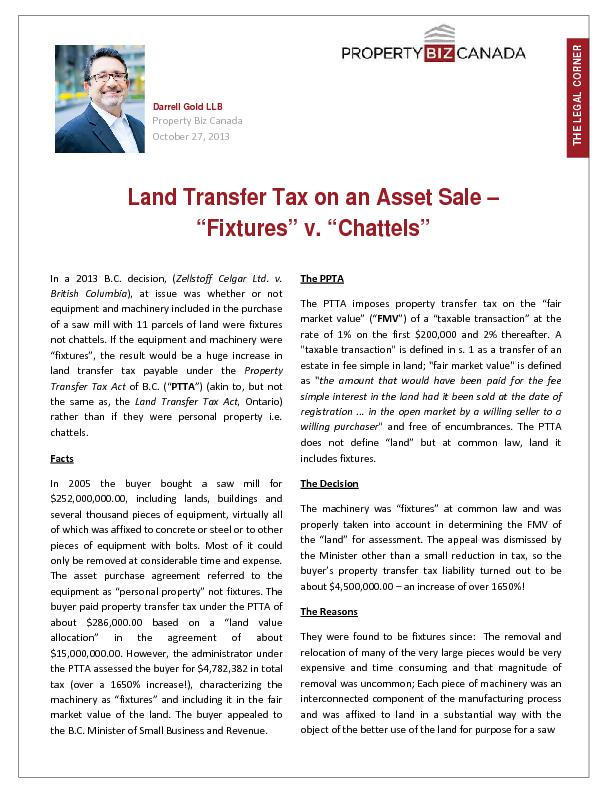 Land Transfer Tax on an Asset Sale
