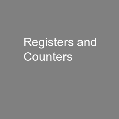 Registers and Counters PowerPoint PPT Presentation