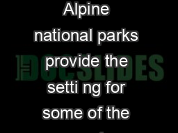 Discussion Paper Greater Alpine National Parks Background The Greater Alpine national parks provide the setti ng for some of the most spectacular and challenging four wheel driving in Australia