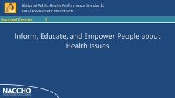 3 Inform, Educate, and Empower People about Health Issues