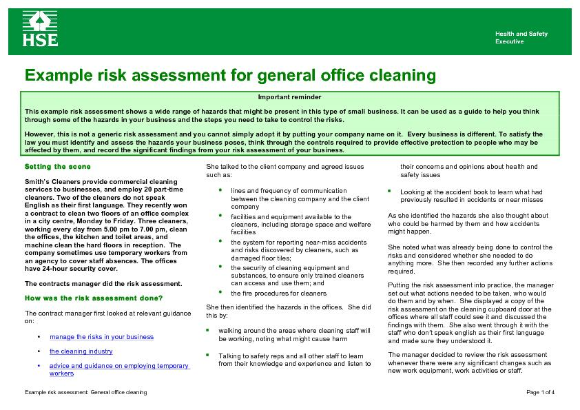 the importance of health and safety - risk assessments essay Importance causes the law sector prepared risk assessments and an up-to-date safety and health performance and ensure safety and health risk management.