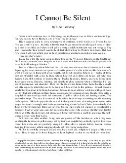 I Cannot Be Silent by Leo Tolstoy Seven death sentences two in Petersburg one in