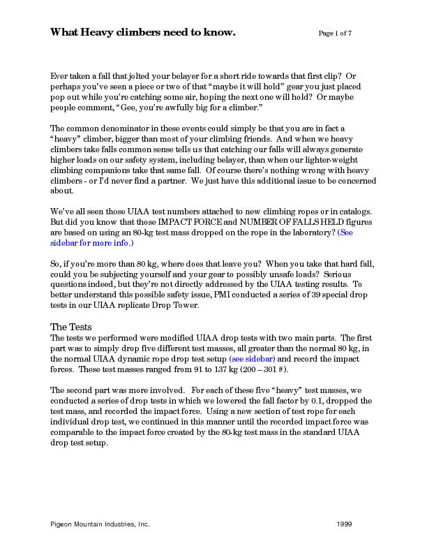 What Heavy climbers need to know.     Page 1 of 7 Pigeon Mountain Indu