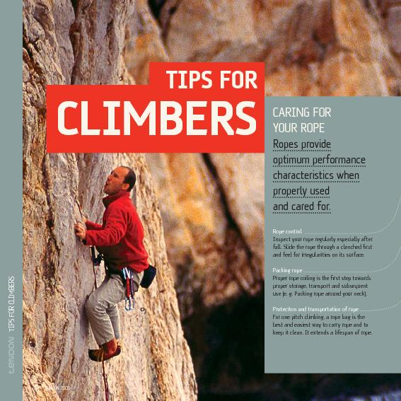 TIPS FOR CLIMBERS