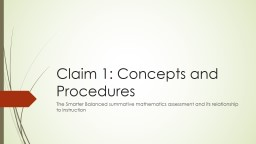Claim 1: Concepts and Procedures