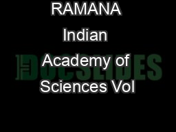 RAMANA Indian Academy of Sciences Vol