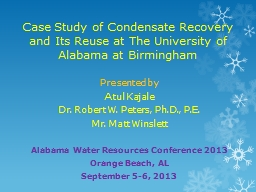 Case Study of Condensate Recovery and Its Reuse at The Univ