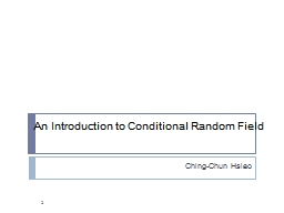 An Introduction to Conditional Random Field