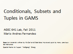 Conditionals, Subsets and Tuples in GAMS PowerPoint PPT Presentation