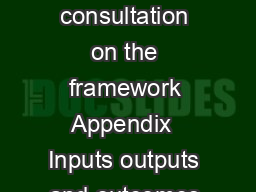 Future price limits a consultation on the framework Appendix  Inputs outputs and outcomes  A
