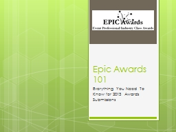 Epic Awards 101 PowerPoint PPT Presentation