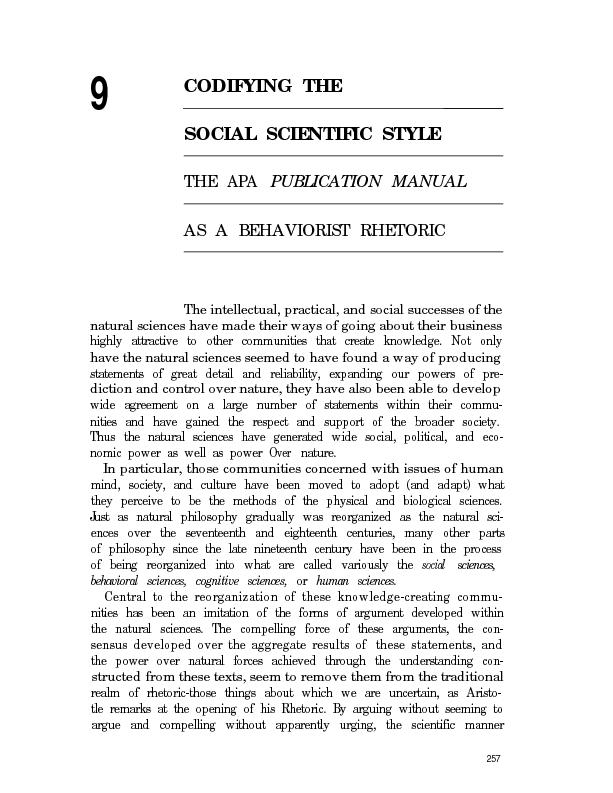 9CODIFYING THESOCIAL SCIENTIFIC STYLETHE APA PUBLICATION MANUALAS A BE