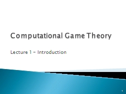 Computational Game Theory