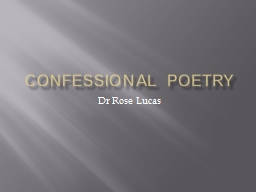 Confessional Poetry PowerPoint PPT Presentation
