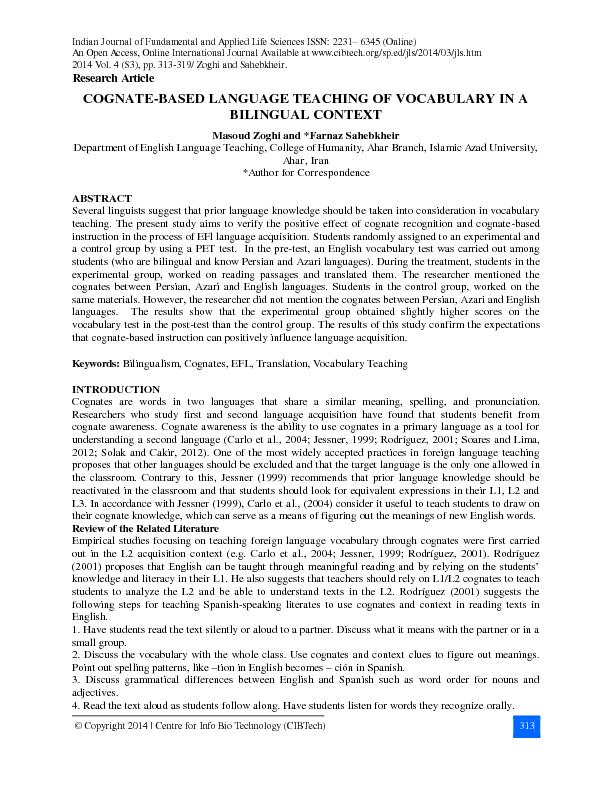 Indian Journal of Fundamental and Applied Life