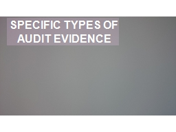 SPECIFIC TYPES OF AUDIT EVIDENCE